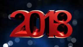 Rendição 3d do ano novo feliz 2018 Fotos de Stock