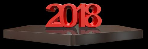 Rendição 3d do ano novo feliz 2018 Fotografia de Stock