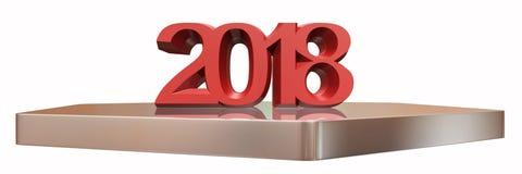 Rendição 3d do ano novo feliz 2018 Foto de Stock
