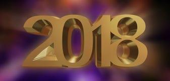 Rendição 3d do ano novo feliz 2018 Imagem de Stock Royalty Free