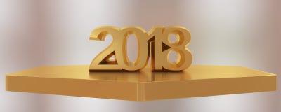 Rendição 3d do ano novo feliz 2018 Imagens de Stock