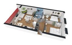 rendição 3d do apartamento home fornecido Fotografia de Stock