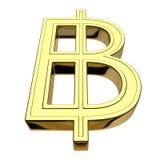 rendição 3D do baht tailandês dourado de sinal de moeda isolada no branco ilustração stock