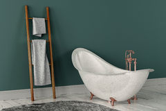 rendição 3D do banheiro com toalhas de madeira Imagens de Stock Royalty Free