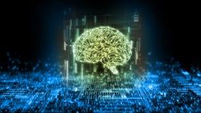 rendição 3D do cérebro do circuito no fundo abstrato da tecnologia Conceito da inteligência artificial ilustração royalty free