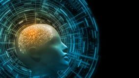 rendição 3D do cérebro cybernetic dentro da cabeça do bio cyborg humano com fundo futurista da relação do hud da tecnologia ilustração royalty free