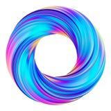 a rendição 3D do círculo abstrato holográfico torceu a forma ilustração stock