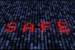 rendição 3d do cofre forte da palavra com luzes vermelhas em um painel hexadecimal do diodo emissor de luz Fotos de Stock Royalty Free
