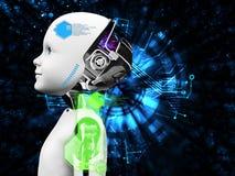 rendição 3D do conceito da tecnologia da cabeça do robô da criança Imagem de Stock