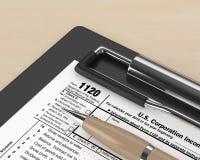 rendição 3d do corporaçõ da renda do formulário 1120 de declaração de rendimentos ilustração stock