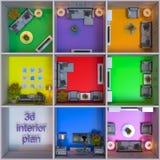 rendição 3d do design de interiores dos apartamentos no cubo ilustração royalty free