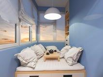 rendição 3d do espaço do design de interiores no balcão Fotografia de Stock