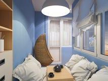 rendição 3d do espaço do design de interiores no balcão Fotos de Stock Royalty Free