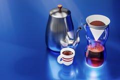 rendição 3d do grupo de café do gotejamento na reflexão azul do metal ilustração stock