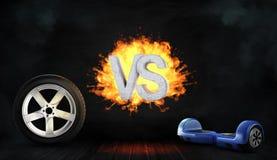 a rendição 3d do letras concretas flamejantes CONTRA o suporte entre uma roda de carro e um auto-equilíbrio azul embarca Imagem de Stock