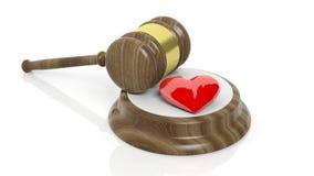 rendição 3D do martelo de madeira e do símbolo vermelho do coração Foto de Stock