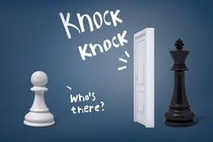 rendição 3d do penhor branco da xadrez pronto para encontrar um rei preto que está atrás de uma porta branca ilustração do vetor