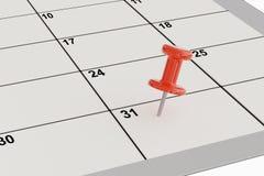rendição 3D do percevejo vermelho no calendário Foto de Stock Royalty Free