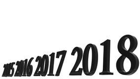 rendição 3d do projeto do texto 3d do ano novo feliz 2018 com vagabundos claros ilustração do vetor