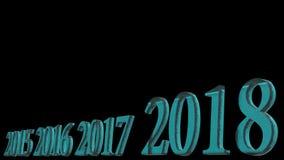 rendição 3d do projeto do texto 3d do ano novo feliz 2018 com vagabundos claros Fotografia de Stock Royalty Free