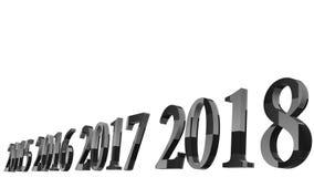 rendição 3d do projeto do texto 3d do ano novo feliz 2018 com vagabundos claros Fotos de Stock