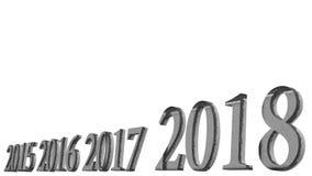 rendição 3d do projeto do texto 3d do ano novo feliz 2018 com vagabundos claros Fotos de Stock Royalty Free