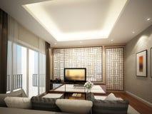 rendição 3d do quarto interior da sala de visitas Imagem de Stock