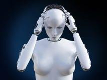 rendição 3D do robô fêmea com dor de cabeça Fotografia de Stock