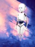 rendição 3D do robô da criança com fundo do espaço Fotos de Stock Royalty Free