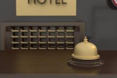 rendição 3D do sino dourado na recepção do hotel Foto de Stock Royalty Free