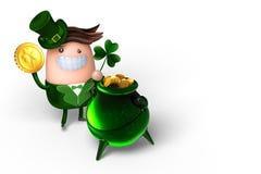 rendição 3d do tema do dia do ` s de St Patrick, a posse bonito do duende Foto de Stock