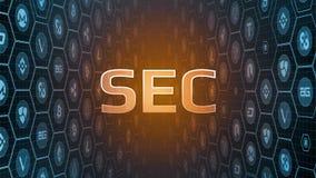 rendição 3D do texto de incandescência com bitcoin e fundo cripto das moedas da moeda Decisão dos atrasos do segundo que aprova o ilustração stock