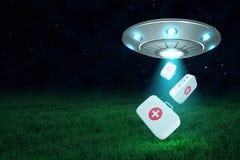 rendi??o 3d do UFO no ar na noite com os tr?s exemplos m?dicos do doutor que caem para baixo de seu portal aberto no gramado verd ilustração royalty free