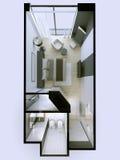 rendição 3d dos apartamentos interiores sem telhado Fotos de Stock Royalty Free
