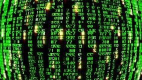 rendição 3D dos blocos abstratos de código da matriz situados no espaço virtual Imagens de Stock Royalty Free