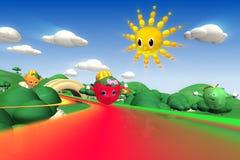 rendição 3d dos caráteres da morango, os alaranjados e os verdes da maçã Foto de Stock Royalty Free