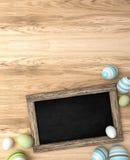 rendição 3d dos ovos da páscoa no fundo de madeira Imagem de Stock Royalty Free