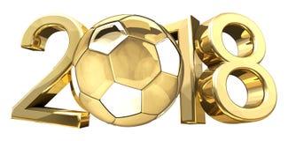 Rendição 3d dourada da bola 2018 do futebol do futebol do futebol Ilustração Stock