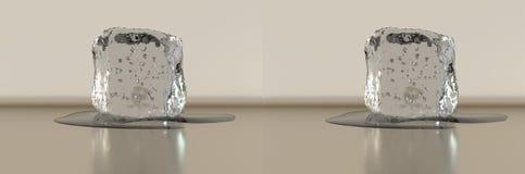 rendição 3d Estéreo de lado a lado Cubo de gelo com alguma água Imagem de Stock Royalty Free