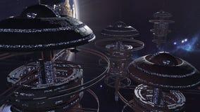 rendição 3d Grupo poderoso de spacestations na cena futurista Foto de Stock