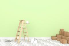 rendição 3D: ilustração da escada do reparo para o pintor da pintura de parede decoração seu conceito home renove seu conceito ho ilustração stock