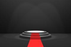 rendição 3D: ilustração da fase com tapete vermelho para a cerimônia de concessões Pódio redondo preto Primeiro lugar 3 etapas es Fotografia de Stock
