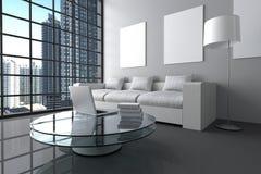 rendição 3D: ilustração da sala de visitas branca interior moderna do minimalismo com laptop, e livro na tabela de vidro Imagens de Stock