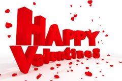 rendição 3D: a ilustração de 3d rotula o dia de Valentim feliz e o coração realístico vermelho para deixar cair ao assoalho em um Fotografia de Stock