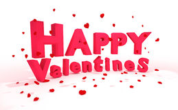 rendição 3D: a ilustração de 3d rotula o dia de Valentim feliz e o coração realístico vermelho para deixar cair ao assoalho em um Imagem de Stock
