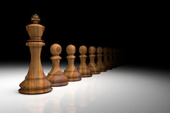 rendição 3D: ilustração de partes de xadrez a xadrez de madeira do rei no centro com xadrez do penhor na parte traseira gota clar Foto de Stock Royalty Free