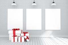 rendição 3D: ilustração do cartaz de três brancos que pendura na parede na sala vazia Parede de tijolo e assoalho de madeira Copi Foto de Stock