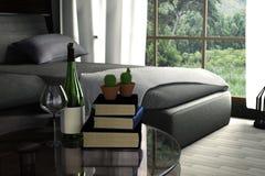 rendição 3D: ilustração do design de interiores da sala de visitas Estilo moderno Interior de madeira feche acima na garrafa do l Ilustração Royalty Free