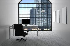 rendição 3D: ilustração do escritório branco interior moderno do desktop criativo do desenhista com computador do PC, teclado, câ ilustração stock