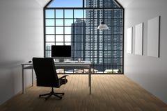 rendição 3D: ilustração do escritório branco interior moderno do desktop criativo do desenhista com computador do PC, teclado, câ ilustração royalty free